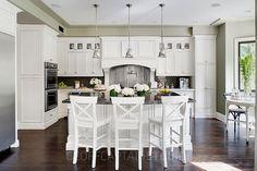 White kitchen and dark floor