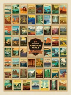 Anderson Design Group Postcards 61 National Parks Classic Poster Art (Now Featuring Gateway Arch and Indiana Dunes National Parks! American National Parks, Us National Parks, Zion National Park, Usa Puzzle, To Infinity And Beyond, Park Service, Death Valley, Vintage Travel Posters, Adventure Is Out There