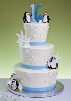 Penguin Cake. Love the snowflakes on it.