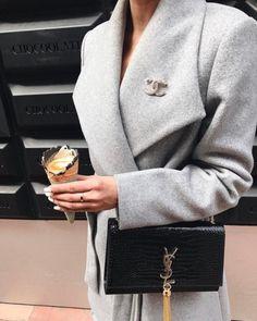 Chanel brooch + YSL monogramme tassel bag | pinterest: @Blancazh