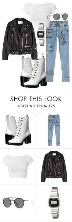 """""""Untitled #22390"""" by florencia95 ❤ liked on Polyvore featuring Marc Jacobs, Moschino, Helmut Lang, Acne Studios, Ray-Ban, Casio and Giani Bernini"""