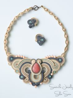Handmade soutache necklace and earrings