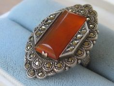 10% Off use cupon fallback1 1900s 925 Sterling Ring Oblong Pronged Carnelian Stone Loaded Marcasites