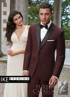 "<p style=""text-align: justify;"">In response to red carpet looks and sharp dressing professional sportsmen, Ike Behar has made the burgundy 'Marbella' slim fit tuxedo!   It features contrasting black satin peak lapels and a one button front and is made from luxurious super 120's wool.   Matching trousers and vest are available, if you dare!</p>"