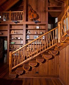 Ideas For Wooden Stairs Handrail Wood Railing Rustic Staircase, Wooden Staircases, Wooden Stairs, Stairways, Wood Railing, Stair Handrail, Railing Ideas, Banisters, Railings