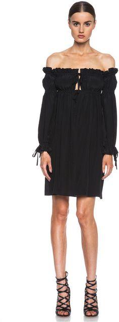 Alexander McQueen Off The Shoulder Silk Drawstring Dress in Black on shopstyle.com