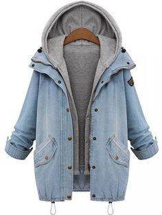 Plus Size Denim Drawstring Twinset Hooded Women Jacket Outerwear-fashion, - newchic.com Mobile