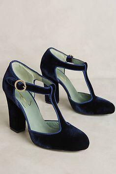 Paola d'Arcano Velvet T-Strap Heels - glorious retro look