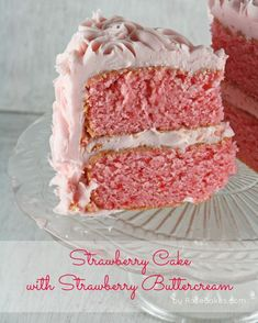 Slice of Strawberry Cake with Strawberry Buttercream Frosting