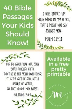 40 Essential Bible Passages Your Kids Should Know! A free printable pdf with 40 passages all from the ESV. A year of Bible memorization with one print! Memory Verses For Kids, Bible Verses For Kids, Printable Bible Verses, Scripture Verses, Bible Scriptures, Healing Scriptures, Scripture To Memorize, Preschool Bible Verses, Bible Study For Kids