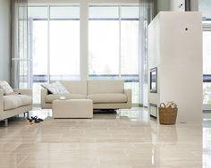 Kiven Herra / lattia Travertino Classico Sofa, Couch, Stone Tiles, Light Shades, Scandinavian Style, Stairways, Flooring, Interior, Fireplaces