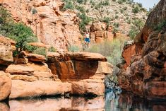 """Next trip to Sedona-Hike miles from wet beaver creek work center, the bell trail head, on bell trail to """"the crack"""" swimming hole in Sedona, AZ Arizona Travel, Sedona Arizona, Arizona Trip, Best Swimming, Swimming Holes, Vacations To Go, Vacation Trips, Sedona Things To Do, Sedona Hikes"""