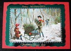 Vintagekarte Wir holen unsern Weihnachtsbaum
