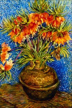 Fritillaries in a Copper Vase, 1887 - Vincent van Gogh (Dutch, Post-Impressionism Van Gogh Paintings, Paintings I Love, Painting Prints, Art Prints, Vincent Van Gogh, Artist Van Gogh, Van Gogh Art, Art Van, Fleurs Van Gogh
