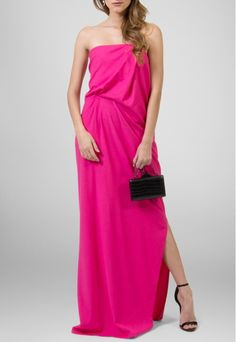 PowerLook Aluguel de Vestidos Online- ANIMALE Vestido Florbela tqc com fenda Animale - pink #animale #Forbela #fenda #vestidolongo #vestidomadrinha #madrinha #vestidofesta #pink #tomaraquecaia