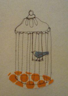 ORIGINAL fiber drawing...bird series by mummysam on Etsy, $30.00