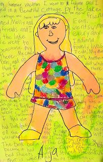 Art Projects for Kids: Back-To-School Self Portraits. Student drawing in front, writing about the summer in the back, and watercolor over all.