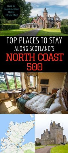 Hotel Guide for the top hotels along Scotland's North Coast 500 - the ultimate Scottish road trip. Over 25 accommodation options which include castle hotels, romantic B&B, historic mansion hotels, luxury hotels, and seaside cottages. Find out where to sta Scotland Hotels, Scotland Vacation, Scotland Road Trip, Scotland Travel, Castle Scotland, Cottages Scotland, Scotland Tours, North Coast 500 Scotland, Cottages England