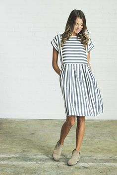 DETAILS: Clad & Cloth Brand Blue and ivory striped dress Made from soft cotton linen blend RUNS BIG (we recommend...