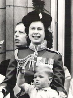 The Queen with a little Prince Andrew.