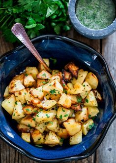 Roasted Potatoes With Garlic Sauce – the best roasted potatoes you will ever eat. The garlic sauce makes all the difference.