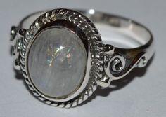 925 Sterling Silver 11x9mm Moonstone Ring - Shimmering Moonlight