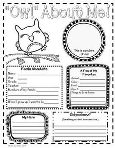 """OWL"" ABOUT ME POSTERS - TeachersPayTeachers.com"