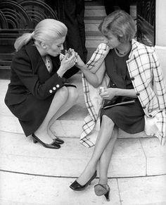Francoise Sagan et Catherine Deneuve circa 1968