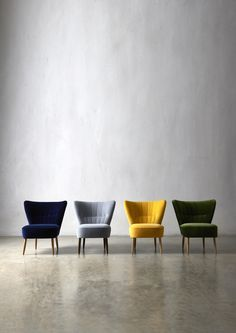 The FITZ cocktail chairs - from left: in Ink, Smoke, Primrose and Fern velvet - Swoon Editions. Sofa Lounge, Home Furniture, Furniture Design, Velvet Furniture, Handmade Furniture, Living Spaces, Living Room, My New Room, Modern Chairs