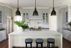 Traditional Kitchen with Custom hood, Silestone-Quartz Countertop in Lagoon, Complex marble counters, Inset cabinets, Paint 2
