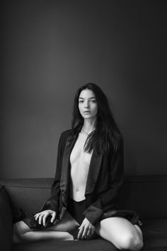 Mariacarla Boscono in a black and white photograph series for BLK DNM