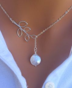 MOTHERS DAY SALE Coin Freshwater Pearl and Branch lariat necklace in Sterling Silver. Bridesmaids Gift. Bridal. Wedding.