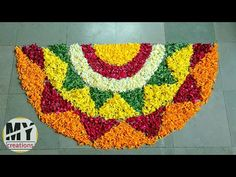 Very Simple and Easy to Make Flower Rangoli Full Hand Mehndi Designs, Simple Rangoli Designs Images, Rangoli Designs Flower, Rangoli Designs With Dots, Flower Rangoli, Flower Designs, Diwali Diy, Diwali Rangoli, Simple Flower Design