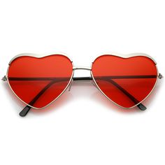 Red, heart-shaped, silver framed sunglasses