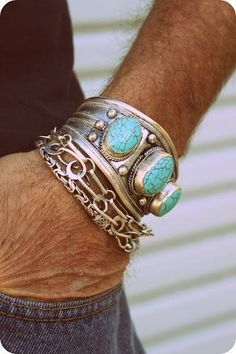 1980s Tibetan Tribal silver and TURQUOISE Mens cuff bracelet/Motorcycle men/Native American/Ethnic/Bohemian/gypsy/Southwestern. $43,00, via Etsy.