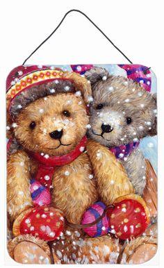 Winter Snow Teddy Bears Wall or Door Hanging Prints CDCO0461DS1216