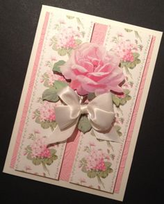 Shabby-Sweet Pink and Ivory Floral All Occasion Card with Anna Griffin Papers