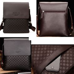 Latest Collection Fashion Men Messenger Bag Casual Plaid Design Accessories Bag Faux Leather