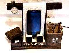 Phone Accessories – Wood Phone Holder, Personalized Phone Stand – a unique…