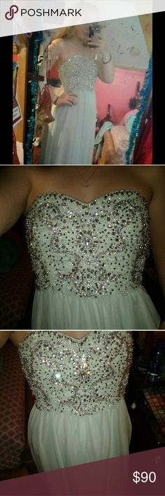 Mint green/light blue formal dress It's a size 9 worn once other than taking these pictures it good condition Dresses Prom
