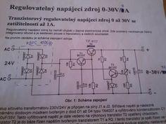 schéma - Regulovatelný napájecí zdroj 30V 7A (úprava stavebnice 1A)