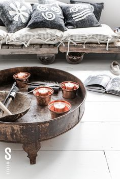 MESELEPhotography + Styling: Paulina ArcklinCustomer: Mesele from IstanbulLocation: in Amsterdam Stil Inspiration, Interior Inspiration, Distressed Wood Coffee Table, Deco Boheme, Rustic Interiors, Bohemian Decor, Home And Living, Decoration, Home Furniture