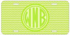 Personalized Monogrammed Chevron Green Car License Plate Auto Tag Top Craft Case http://www.amazon.com/dp/B00N024MWM/ref=cm_sw_r_pi_dp_MAotub1WJ1B21