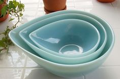 Fire King Teardrop bowl Turquoise   set of three