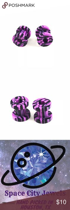 Purple & Black Striped Acrylic Ear Gauge Tunnels New! Awesome purple and black striped ear gauge tunnels. Removable flare tip for easy entry! Available in sizes: 00g, 2g, 4g, & 6g.   ALSO AVAILABLE IN PINK, WHITE, GREEN, & BLUE! SEE OTHER LISTINGS!  ALL BODY JEWELRY IS BUY ONE GET ONE FREE! SEE MY OTHER LISTINGS! Space City Jewels Jewelry Earrings