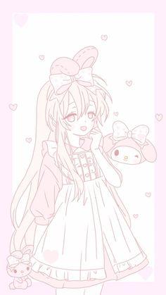 ♡ριик♡ Anime Girl Pink, Kawaii Anime Girl, Manga Girl, Cute Kawaii Girl, Kawaii Art, Pastel Drawing, Pastel Art, Kawaii Chan, Kawaii Background