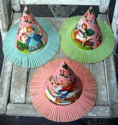 Vintage children's party hats, nursery rhymes, crepe paper, F. Woolworth Co. Unhappy Birthday, Happy Birthday Kids, Happy Birthday Vintage, 2nd Birthday, Birthday Ideas, Retro Birthday Parties, Retro Party, Vintage Party, Birthday Stuff