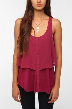 Pins and Needles Button-Down Overlay Tank by lesa