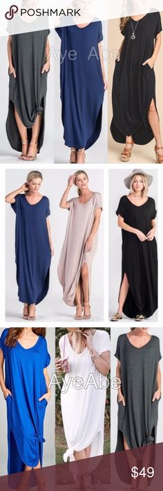 """Over sized loose fit slit long maxi dress pockets Over sized loose fit slit long maxi dress pockets   New boho chic maxi dress.Super comfy. Over sized, loose fit v-neck long maxi dress featuring side slits and side pockets. high quality and stretchy fabric. Runs big. And meant to be.  Measurements takes from size 1X Length: 58"""" Chest: 34"""" Dresses Maxi"""