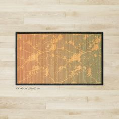Printed Bamboo rug, bamboo carpet - Blossom tree pattern on soft blue-pink gradient.